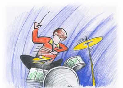 Cartoon of jazzy guy playing the drum set.