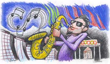 Cartoon of jazzy guy playing the saxophone