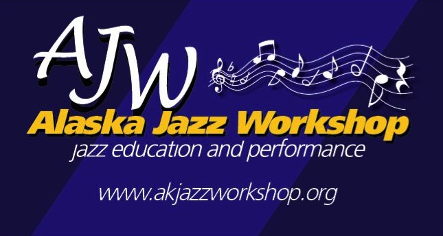 "AJW official banner with dark blue background, notes on staff graphic, ""Alaska Jazz Workshop, jazz education and performance"""